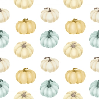 Seamless pattern with white and blue pumpkins