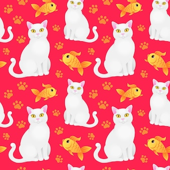 Seamless pattern with white cat and goldfish