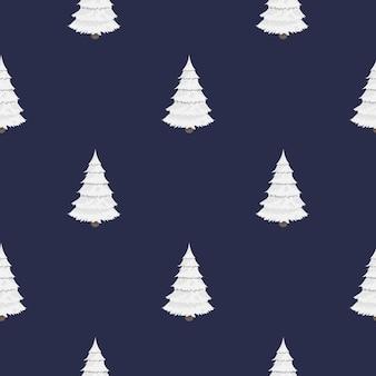 Бесшовный фон с белыми елками. рождественские елки в снегу. подходит для фонов, открыток и оберточной бумаги. подходит на новый год. вектор.