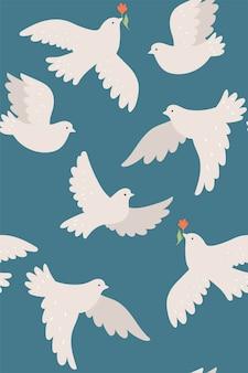 Бесшовный фон с белыми голубями