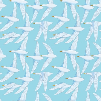 Seamless pattern with white duck bird on blue sky