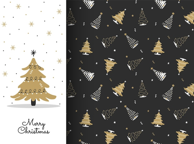 Seamless pattern with white and gold christmas tree. new year design for cards, backgrounds, fabric, wrapping paper.
