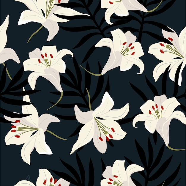 Seamless pattern with white lilies and leaves.