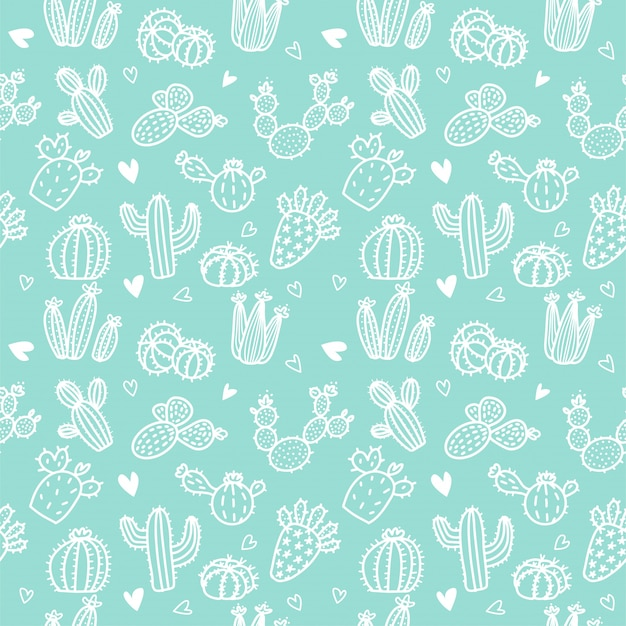 Seamless pattern with white line cactus and succulents on mint background.