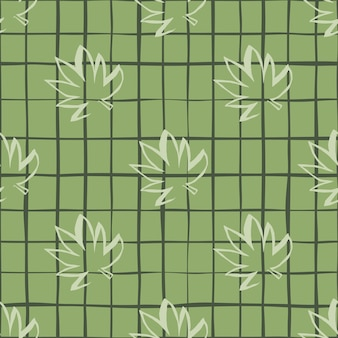 Seamless pattern with white outline cannabis leaves on green chequered background