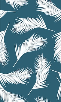 Seamless pattern with white palms leaf