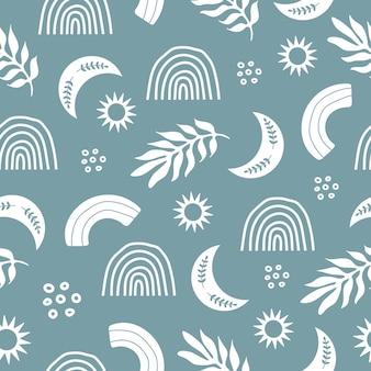 白い植物の星の虹とのシームレスなパターン