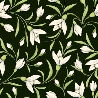 Seamless pattern with white snowdrop flowers. illustration.