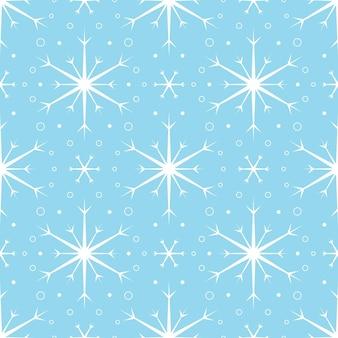 青い背景に白い雪片とのシームレスなパターン。新年、クリスマス、休日、デザインのためのお祝いの冬の伝統的な装飾。シンプルなラインリピートスノーフレークの飾り