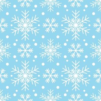 파란색 배경에 하얀 눈송이와 완벽 한 패턴입니다. 새해, 크리스마스, 휴일 및 디자인을 위한 축제 겨울 전통 장식. 심플한 라인 반복 눈송이의 장식