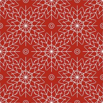 빨간색 바탕에 하얀 눈송이와 완벽 한 패턴입니다. 새해, 크리스마스, 휴일 및 디자인을 위한 축제 겨울 전통 장식. 심플한 라인 반복 눈송이의 장식