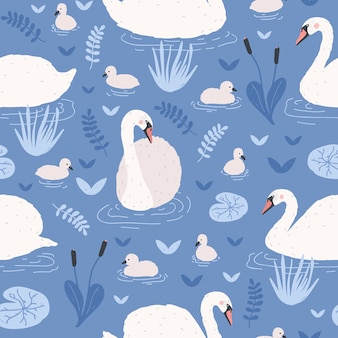 Seamless pattern with white swans and brood of cygnets floating in pond or lake among water lilies and reeds