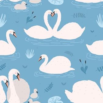 Бесшовный фон с белыми лебедями. пары одиночек и птиц с птенцами.