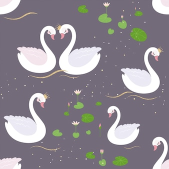 Seamless pattern with white swans and water lillies.