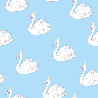 Seamless pattern with white swans. white swans on pink background.  illustration.