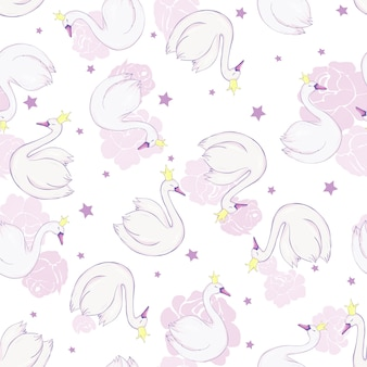 Seamless pattern with white swans