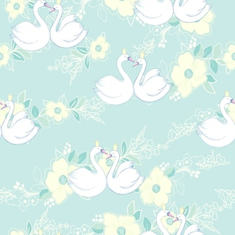 Seamless pattern with white swans.