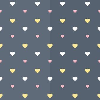Бесшовный фон с белыми желтыми и розовыми сердцами на синем. векторная иллюстрация