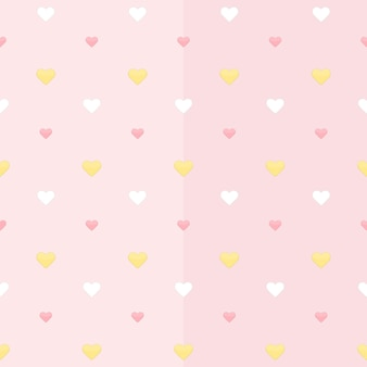 Бесшовный фон с белыми желтыми и розовыми сердцами на розовом. векторная иллюстрация