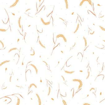 Seamless pattern with whole grain seeds organic natural ears isolated on white background
