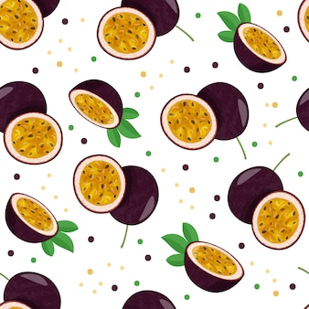 Seamless pattern with whole passion fruit.