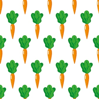 Бесшовные модели с целой спелой морковью с вершинами, изолированные на белом фоне