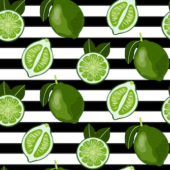 Seamless pattern with whole and sliced limes.