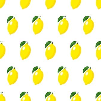 白い背景で隔離の葉と全体の黄色の熟したレモンとのシームレスなパターン
