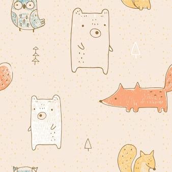 野生動物とのシームレスなパターンクマキツネフクロウとリス手描きのベクトル図