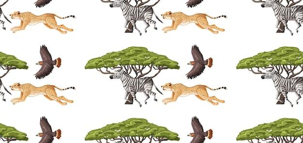 흰색 바탕에 만화 스타일의 야생 동물과 원활한 패턴