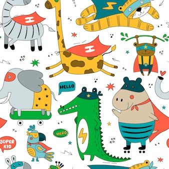 재미있는 만화 의상에서 야생 동물과 완벽 한 패턴입니다. 앵무새, 하마, 호랑이, 사자, 기린, 코끼리, 원숭이, 얼룩말 흰색 배경에 고립 된 귀여운 벡터 배경.