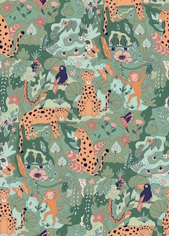 Seamless pattern with wild animals and plants