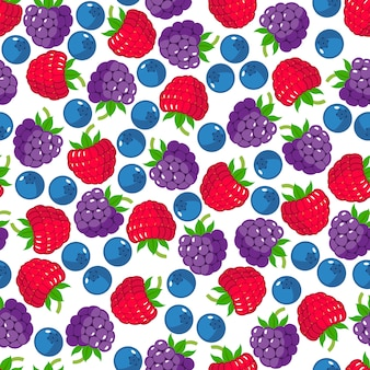 Seamless pattern with wild berries