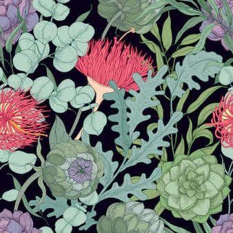 Seamless pattern with wild blooming flowers and herbs used in floristry hand drawn on black
