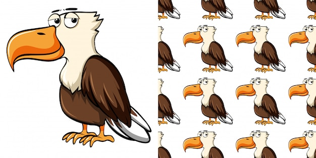 Seamless pattern with wild eagle