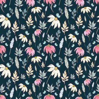 野生の花と蝶のシームレスパターン