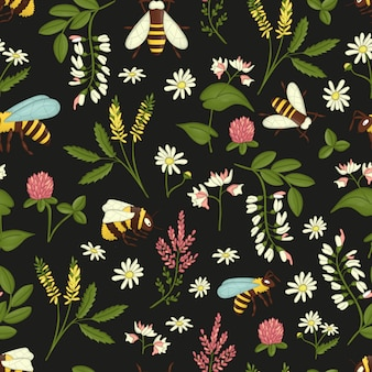 Seamless pattern with wild flowers, bees and bumblebees.