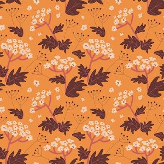 野生の花とのシームレスなパターン。フラットなカラフルなベクトルパターン。