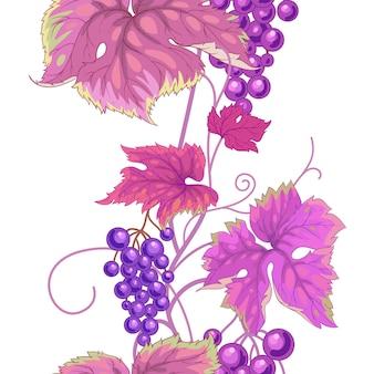 野生ブドウとのシームレスなパターン。