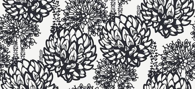 밝은 배경에 야생화와 함께 완벽 한 패턴입니다. 직물, 벽 장식 및 기타 여러 용도의 인쇄에 이상적