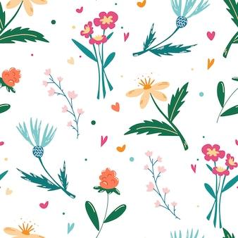 야생화와 함께 완벽 한 패턴입니다. 초원 꽃입니다. 꽃 배경입니다. 종이, 표지, 직물, 실내 장식 및 기타 사용자를 위한 만화 디자인. 디티 프린트. 봄 꽃다발입니다. 벡터 일러스트 레이 션.