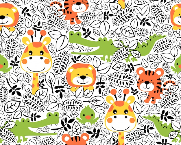 Seamless pattern with wildlife cartoon