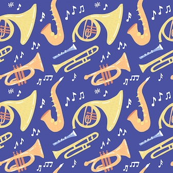 Seamless pattern with wind musical instruments