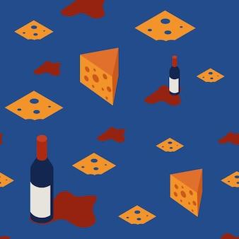레스토랑 메뉴와 배너를 위한 와인과 솜이 있는 매끄러운 패턴