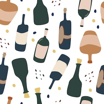 Seamless pattern with wine bottles wine wallpaper background for restaurant