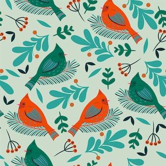 Бесшовный фон с зимними птицами и флорой.