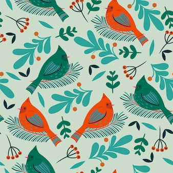 Seamless pattern with winter birds and flora.