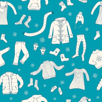 Seamless pattern with winter clothes motive.