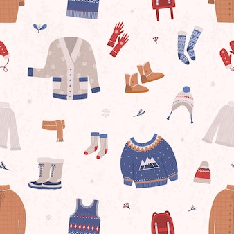 Seamless pattern with winter clothes and outerwear