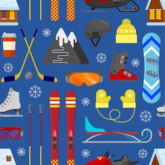 Seamless pattern with winter equipment